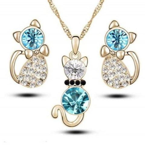 Jewelry Set Blue/Gold - Cute Cats Store