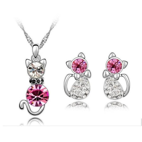 Jewelry Set Pink/Silver - Cute Cats Store
