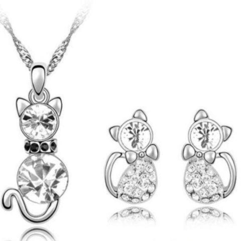 Jewelry Set White/Silver - Cute Cats Store