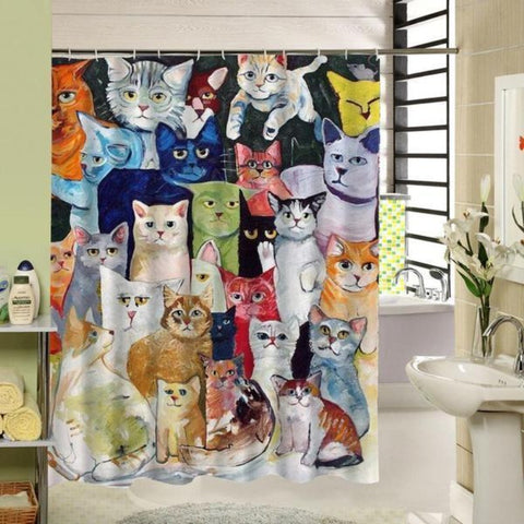 Meow Family Cartoon Shower Curtain - Cute Cats Store