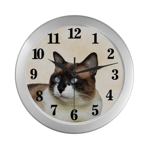 "Lucky Cute Cat Wall Clock 9"" Quartz Movement Cat Lover Gift"