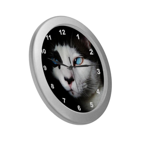 "Cat Lover Wall Clock 9"" Quartz Movement Silver Frame"