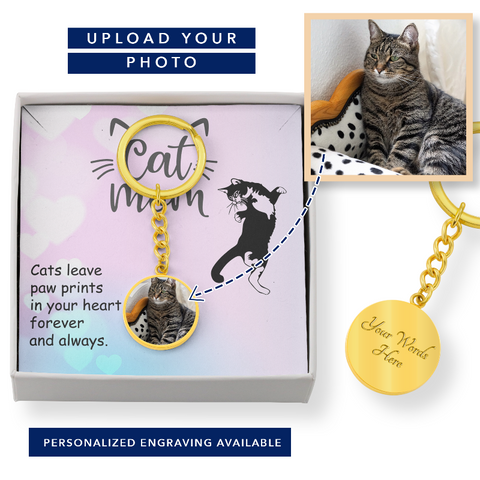 Image of Personalized Photo Engraved Keychain - Cute Cats Store