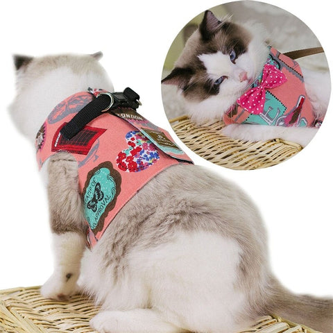 Millie Adjustable Cat Vest Harness With Leash Escape Proof Cat Harness