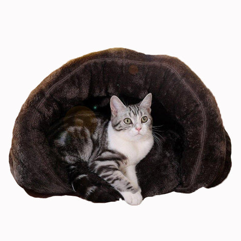 Image of Snoozzzy Cat Bed Cave Cozy Plush Cat House With Removable Mat