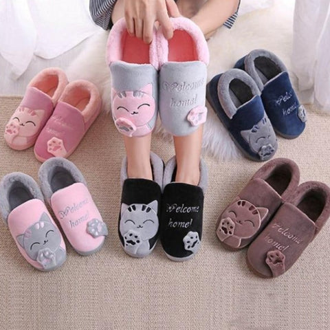 Cute Kitty Warm Slippers Indoor Shoes For Cat Lovers