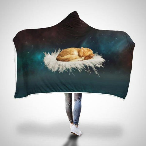 "Hooded Blanket Adult 80""x55"" / Green (as the picture shows) - Cute Cats Store"