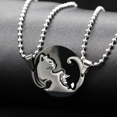 Image of couple necklace cat - Cute Cats Store