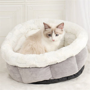 Self-warming Cat Bed Soft Cozy Cat Nest Plush & Imitated Suede