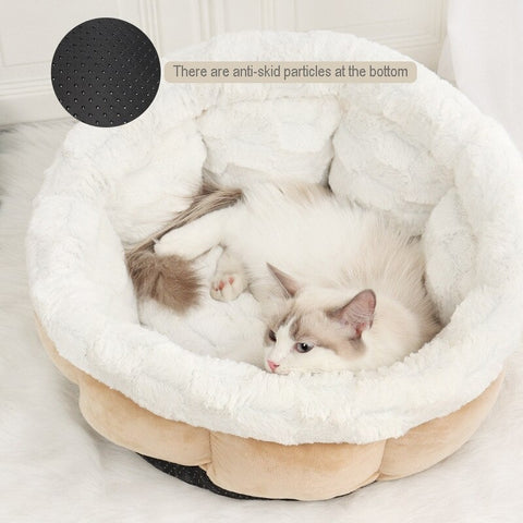 Image of Self-warming Cat Bed Soft Cozy Cat Nest Plush & Imitated Suede