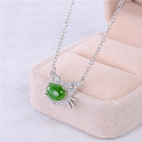 green jasper necklace - Cute Cats Store