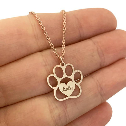 paw print necklace personalized - Cute Cats Store