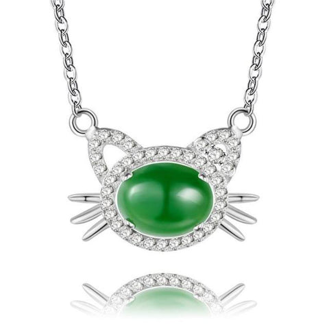 "Jewelry 45cm/17.7"" / Green / 925 Sterling Silver - Cute Cats Store"