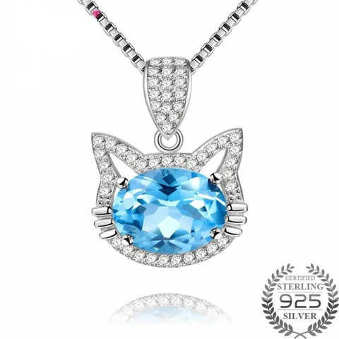 Cat Necklace 925 Sterling Silver Blue Topaz Stone Gifts For Cat Mom