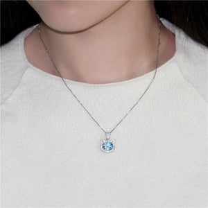 Cat Necklace 925 Sterling Silver Blue Topaz Stone Gifts For Cat Mom - Cute Cats Store