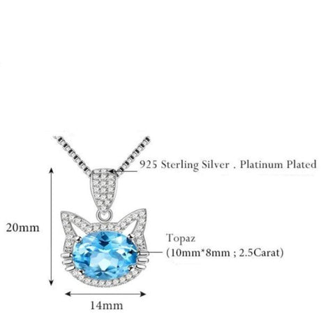 Image of Cat Necklace 925 Sterling Silver Blue Topaz Stone Gifts For Cat Mom - Cute Cats Store
