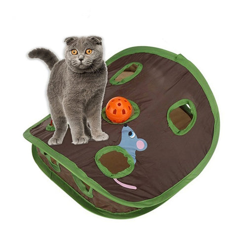 Image of Cat Toy Hide And Seek Mouse Tent With Holes Interactive Cat Toys