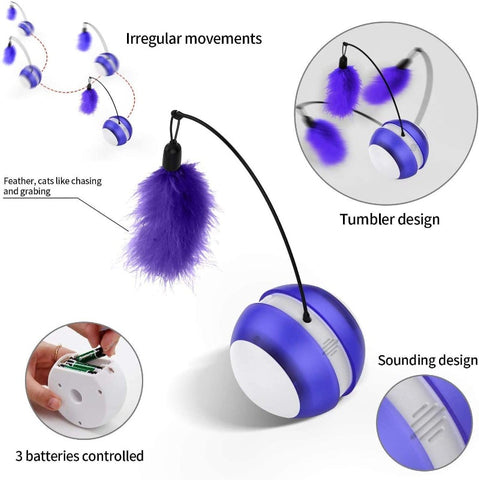 Cat Toy Electronic Self Rolling Ball With Feather Wand LED Light Automatic Cat Toys