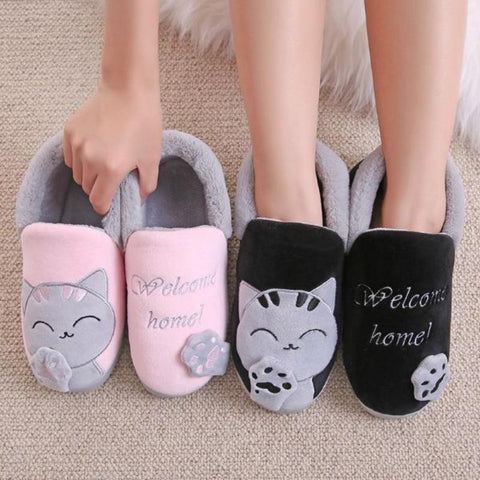 fluffy cat slippers - Cute Cats Store