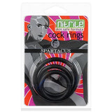 Spartacus Nitrile Cock  Ring Set - Black Pack of 3