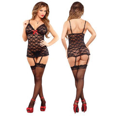 MS Luv Lace Chemise & Gstring Black LX