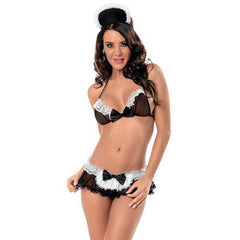 At Your Service Maid Bra, Skirted Panty & Headpiece Black/White O/S