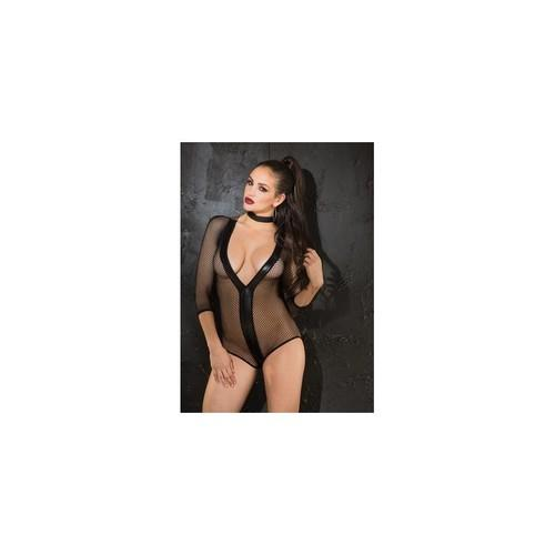 Stretch Fishnet & Pvc 3/4 Sleeve Teddy - One Size