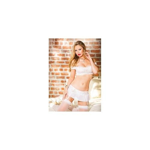 Stretch Lace & Mesh Crop Top & Open Front Skirtini - White - One Size