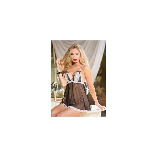 Net & Lace Split Cut Baby Doll - One Size