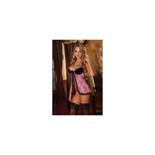 Baby Doll & G-string Set - Pink - Small - Medium