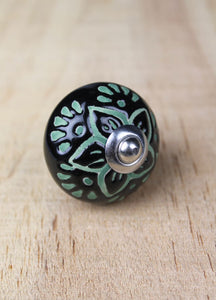 Ceramic drawer knobs - black and green