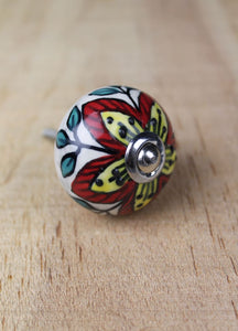 Ceramic drawer knobs - cream with red and yellow flower