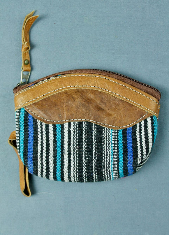 Woven cotton and buffalo leather coin purse - black blue multi