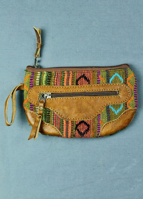Woven cotton and buffalo leather pouch purse - green peach multi