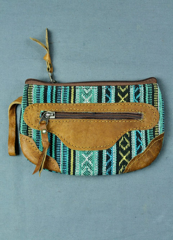 Woven cotton and buffalo leather pouch purse - turquoise black multi