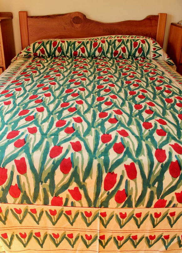 Hand block printed cotton bedsheet - cream red tulips
