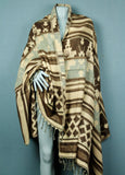 Shawl blanket - brown tan and light blue
