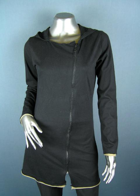 long cotton black summer jacket