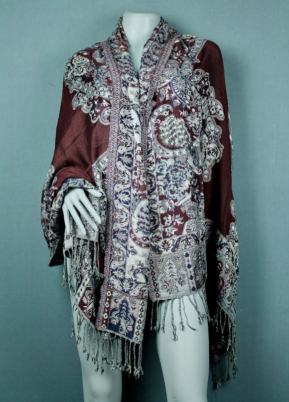 Shawl scarf - maroon grey multi