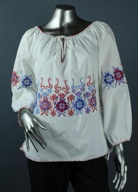 cotton embroidered peasant top