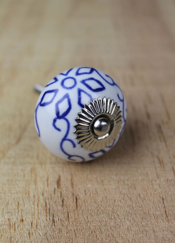 Ceramic drawer knobs - white with blue