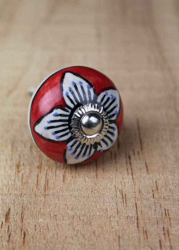 Ceramic drawer knobs - red with white flower