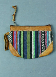 Woven cotton and buffalo leather coin purse - navy green multi