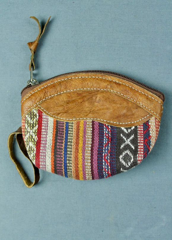 Woven cotton and buffalo leather coin purse - purple multi