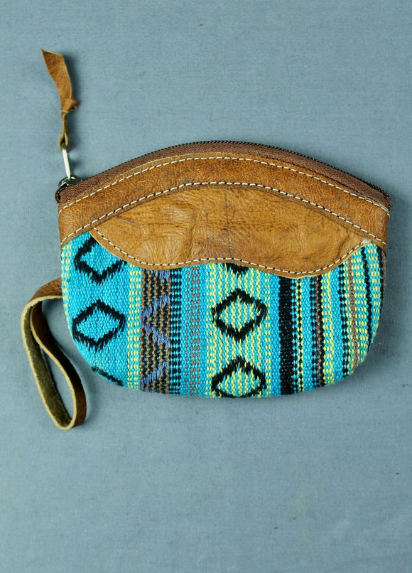 Woven cotton and buffalo leather coin purse - Turquoise multi