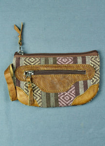 Woven cotton and buffalo leather pouch purse - purple brown multi