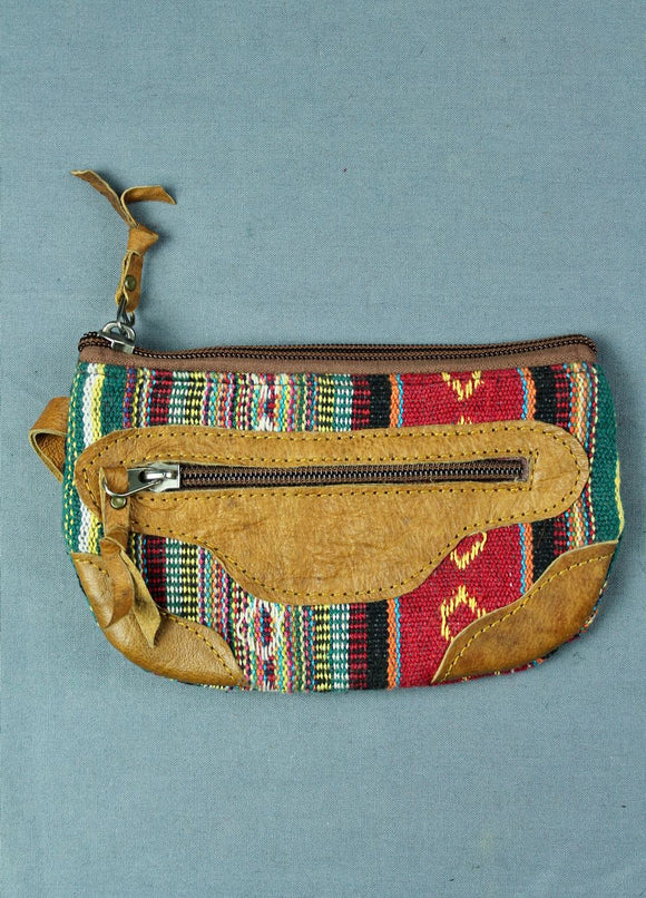 Woven cotton and buffalo leather pouch purse - red multi