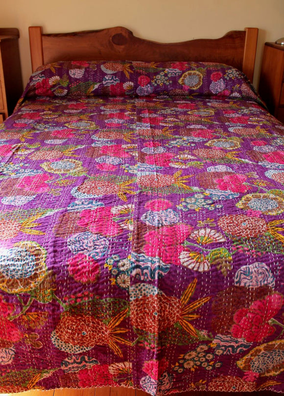 Quilted cotton bedcover - purple flower
