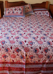Hand block printed cotton bedsheet - white red blue multi
