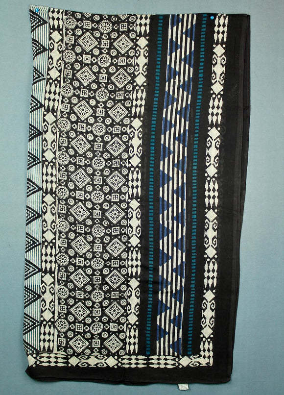 Block printed cotton sarong - black with white and blue